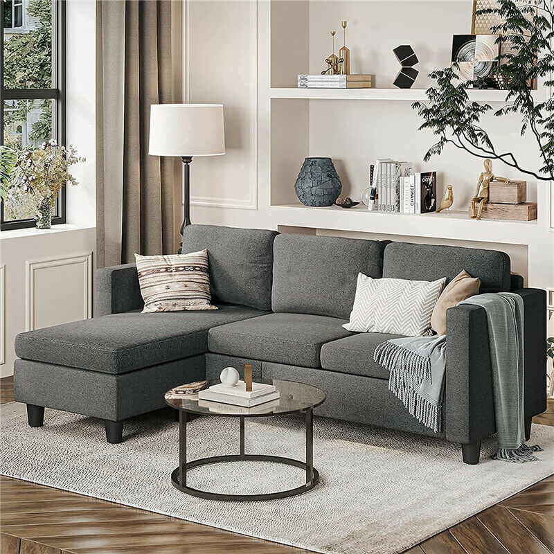 Modern Couch 3-Seat Convertible Sectional Sofa with Chaise Lounge Living Room