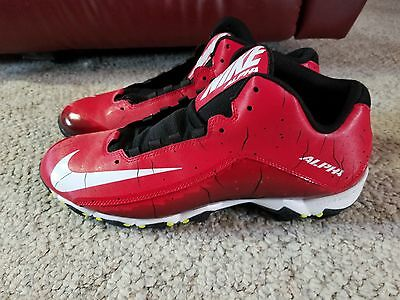 New Nike Alpha Shark 2 3//4 Football Cleats Red//White//Black Size 11.5 M