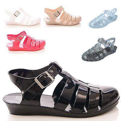 Nuevo Damas Mujeres Verano Sandalia de cuña jaleas Playa Estilo Informal Zapatos Talla 3-8
