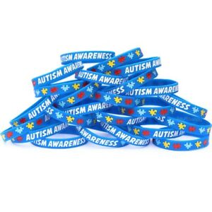Image Is Loading 100 Autism Awareness And Support Wristbands Puzzle Piece