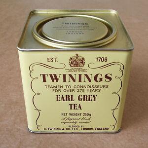 Vintage Twinings Earl Grey Tea metal tin box can 1982 advertising London 250g 70177038328