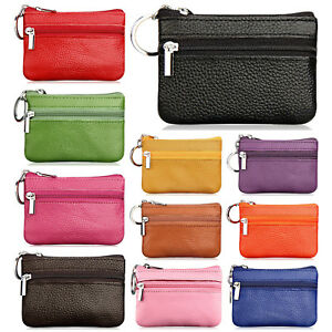 500ff353de4 Details about Women s Genuine Leather 2 Zipper Pockets Key Ring Coin Purse  Mini Pouch Wallet