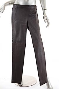 BRUNELLO CUCINELLI Espresso Stretch LEATHER Legging Pant  I46 US10  NWT   3295