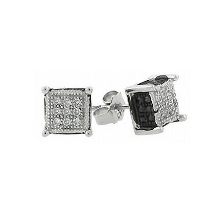 925 Sterling micro Pave pendientes-chicago 6mm plata BK
