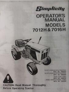 simplicity 7012h 7016h lawn garden tractor owner manual 1690352 1690319 12  16 hp | ebay  ebay
