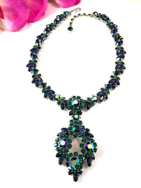 1950'S CROWN TRIFARI SAPPHIRE EMERALD AB RHINESTONE CONTESSA NECKLACE PENDANT