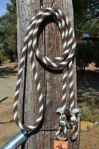 1-2-034-Alpaca-Hair-Loop-Roping-Trail-Reins-6-Str-x-10-ft-Chestnut-Grey-White