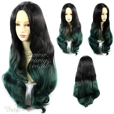 Long Wavy Lady Wigs Black Brown Red Blue Purple Green Dip-Dye Ombre hair WIWIGS