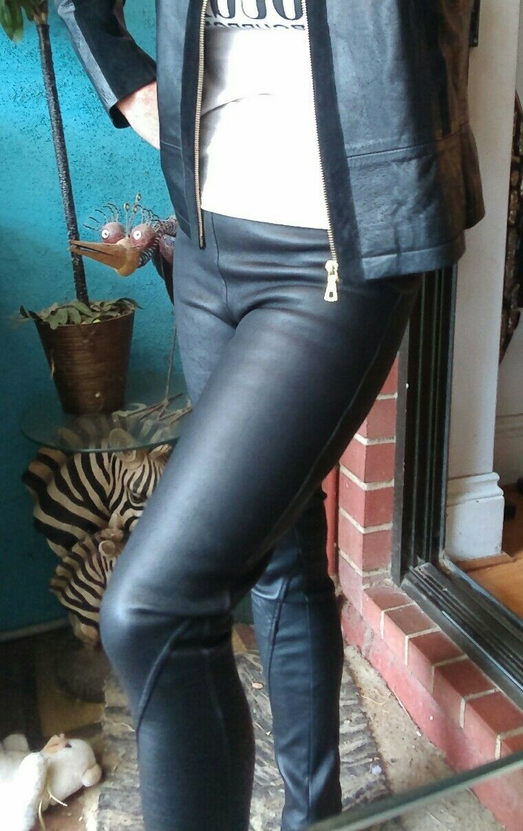 Arthur Galan Leather Pants Leggings Sz 8   799