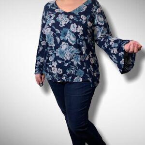 Lucky-Brand-Bell-Sleeve-Blue-Floral-Plus-Size-Linen-Blend-Boho-Top-Blouse-1X