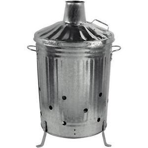 Garden-Burning-Fire-Incinerator-Galvanised-90-lt-Burning-Wood-Leaves-Rubbish-Bin