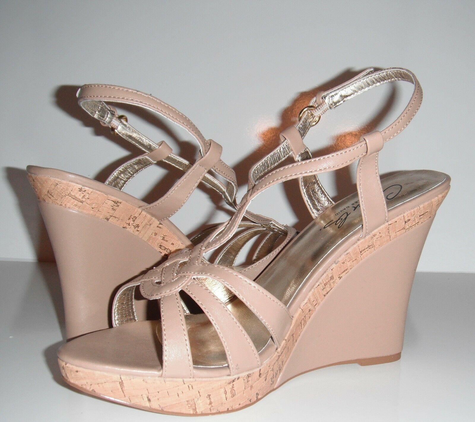 New Charles by Charles David Luck 2 Tan Leather Cork Wedge Platform shoes sz 11