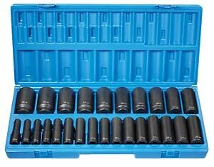 "Grey Pneumatic 1726Md 1/2"" Drive 26 Piece 12 Point Deep Length Metric Set"