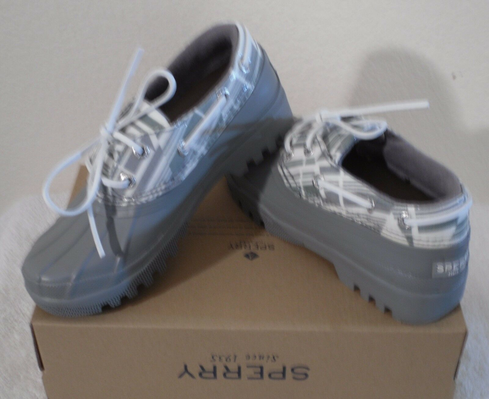 NIB Sperry Top-Sider Heron Womens Rain Shoes Boots 6 Grey MSRP
