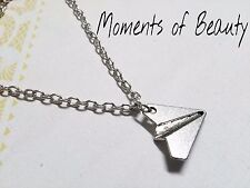 Origami Necklace Paper Airplane Necklace Antiqued Silver 23""