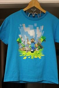 Official-Mojang-MINECRAFT-Kids-Youth-Size-Medium-10-12-EUC-Teal-Blue