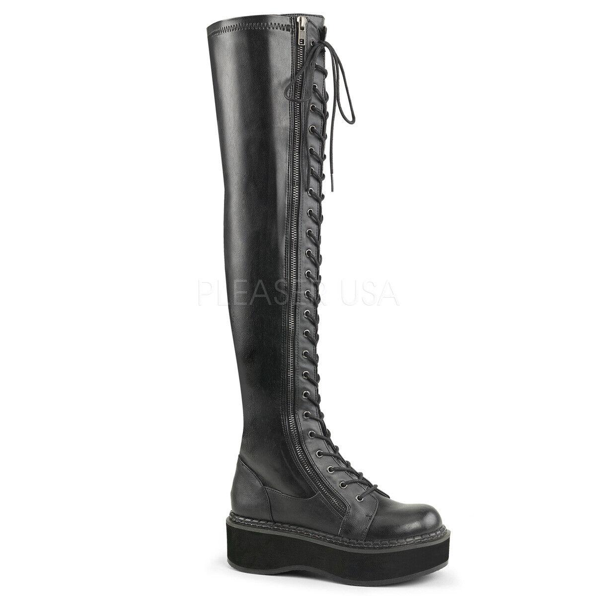 perfezionare Demonia 2 2 2  Platform Matte nero Stretch Thigh High stivali 6 7 8 9 10 11 12  Sconto del 60%