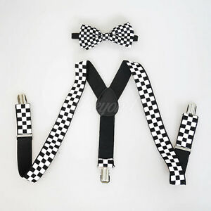 Black-Suspender-and-Bow-Tie-Set-for-Baby-Toddler-Kids-Boys-Girls-Checker