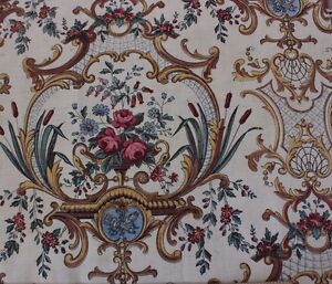 Antique-19thC-HandBlocked-Rococo-Roses-amp-Scolls-French-Fabric-Textile-19-034-LX16-034-W