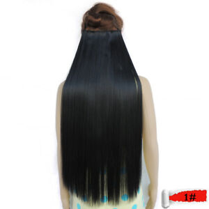 Straight-5-Clip-in-Hair-Extensions-High-Temperature-Fiber-25-Colors-28inch-Wigs