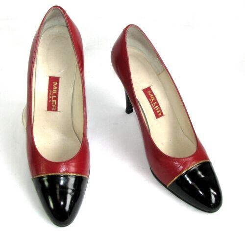 Miller Catena Pelle D'oro Condizioni E Vintage 39 Nera Ottime Rosso Scarpe rnYO4qxr