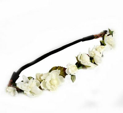 Girls Boho Floral Garland Hairband Wedding Party Flower Elastic Headband
