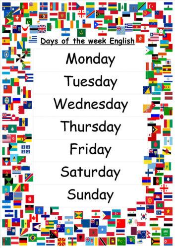 Jours de la semaine A4 affiches disponible en 5 langues ~ ~ childminder ~ pépinière école