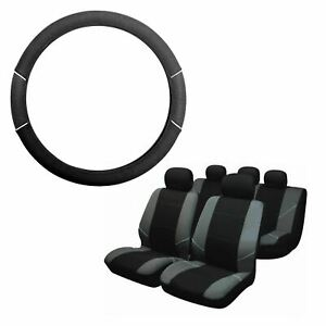 Grey-amp-Black-Steering-Wheel-amp-Seat-Cover-set-for-Chevrolet-Trax-13-On