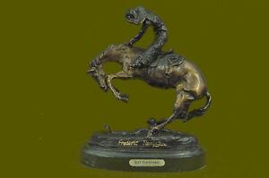 Signed-Frederic-Remington-Cowboy-on-horse-batteling-a-Rattle-Snake-Bronze-Gift