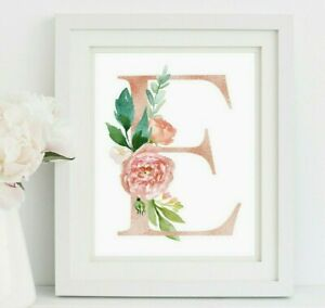 Oro Rosa Personalizado Monograma Guardería Arte impresión inicial Floral Rosa 618-A