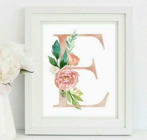Rose Gold Personalised Monogram Nursery Art Pink Floral Initial Print 618-A