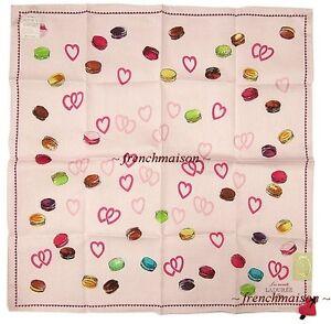 LADUREE-French-Paris-HEARTS-Love-Macarons-Handkerchief-Scarf-Pink-U-S-Seller