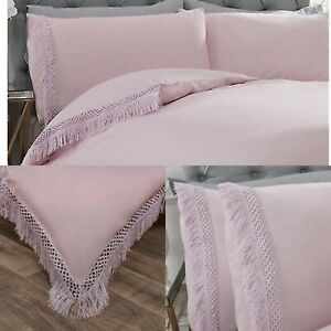 Tia-Trellis-Tassel-Duvet-Cover-Set-Luxury-Cotton-Bedding-Sheets-Double-Pink