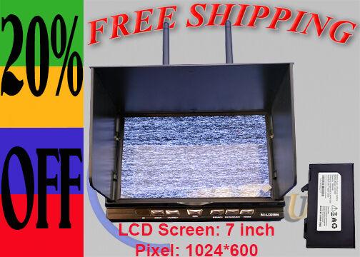 RCTimer RX-LCD5812 7  5.8GHz 32CH receptor de diversidad DVR HD Monitor de visión en primera persona EE. UU.