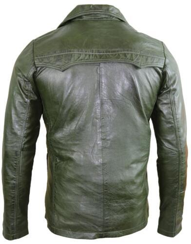Taillierter Schnitt Herren Blazer aus weichem Lammleder Grün Sakko Mantel