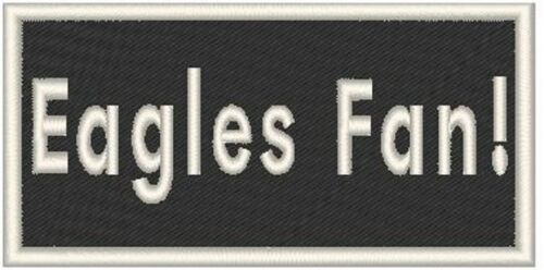 Eagles Fan Biker Iron-On Patch Emblem  Embroidered White  Border