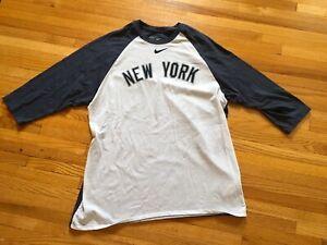 MENS XL Majestic NEW YORK YANKEES Raglan T Shirt 3//4 Sleeve MLB Baseball Jersey