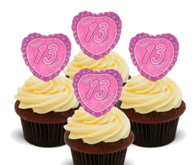 13 Birthday Girl Edible Cup Cake Toppers 12 Pink Standup Wafer Bun Decorations