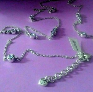 BRIGHTON-HALO-Clear-Blue-Crystal-Silver-Twinkle-LONG-NECKLACE-w-Pouch