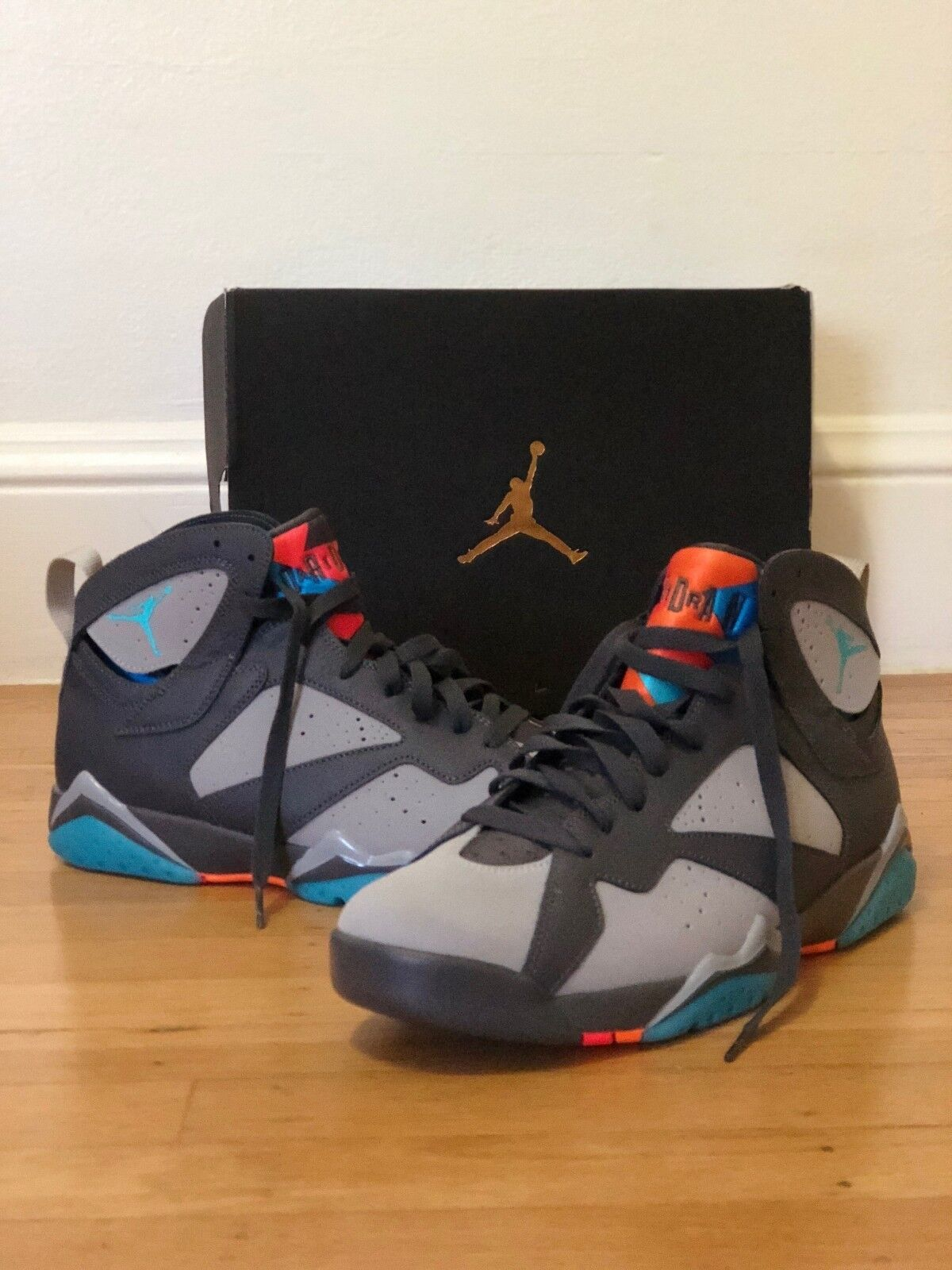 Men Nike Air Jordan 7 Retro 304775-016 Dark Grey/Turquoise Blue-Orange SIZE 10.5 Casual wild