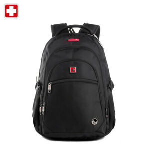 Swiss-waterproof-15-6-034-Laptop-Backpack-Travel-School-shoulder-Bags-SW9130-Black