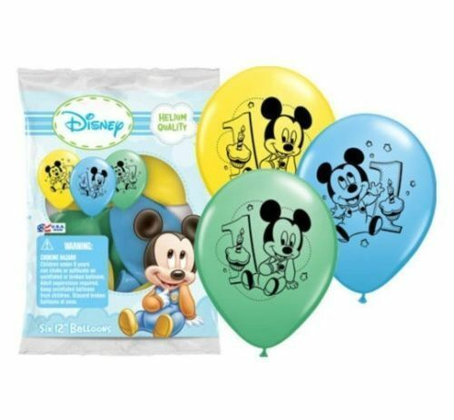 "12/"" Disney Mickey Mouse Latex Helium Balloons Happy 1st Birthday"