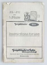 VOIGTLANDER AVUS 3.5X2.5 INCH 1/4 PLATE CAMERA ORIGINAL MANUAL