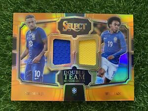 2017-18 Select Soccer NEYMAR JR. WILLIAN Double Team Patch /75 Orange Brazil