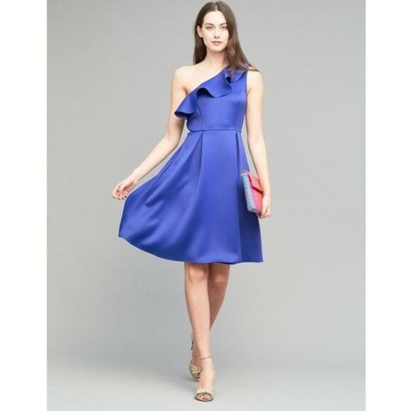 NWT  Anthropologie Shreya One-Shoulder Dress Seen Worn Kept Ruffle 8 Blau