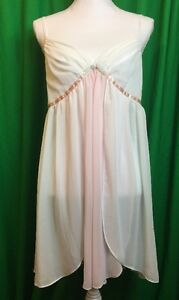 Women-039-s-Morgan-Taylor-Nightgown-and-Robe-Set-Size-Large-Pink-White-PP