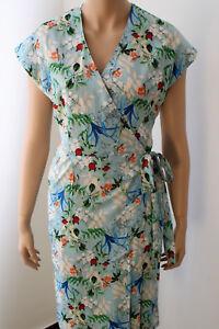 Komodo Fair Trade Sommerwickel Kleid Kurzer Arm Hellblau 50er