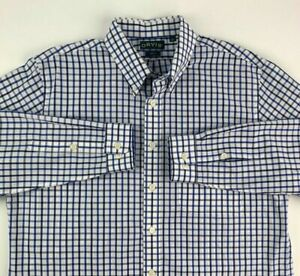 Orvis-Mens-Button-Front-Shirt-Blue-White-Plaid-Long-Sleeve-Trim-Fit-Pocket-XL