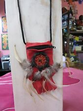 Suede Leather Crystal Medicine Pouch Necklace Zip Up Dream Catcher