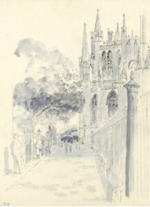 E-F-Hearfield-York-Minster-Cathedral-View-Original-1980s-pen-amp-ink-drawing
